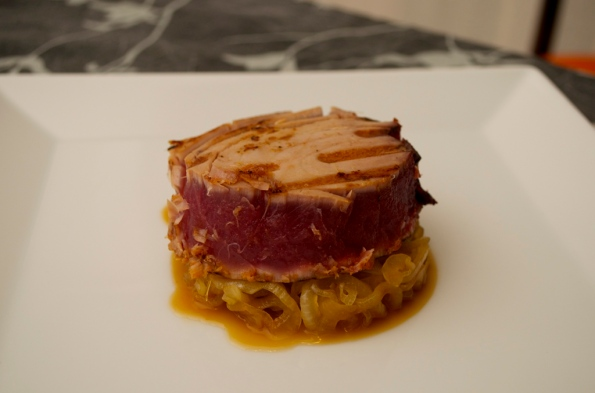 Tuna over bed of caramelized onion